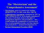 the moratorium and the comprehensive assessment