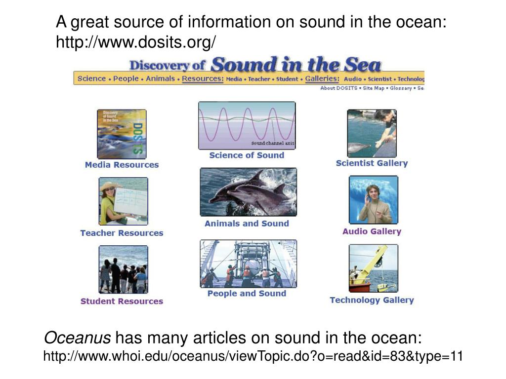 A great source of information on sound in the ocean: