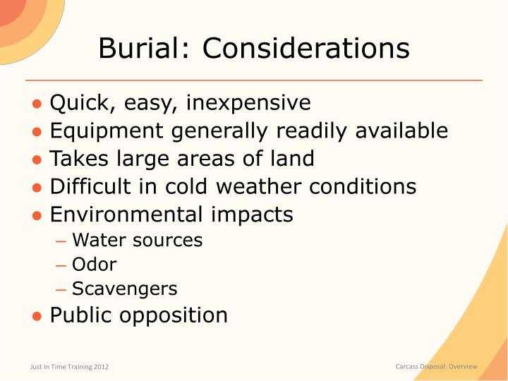 Burial: Considerations