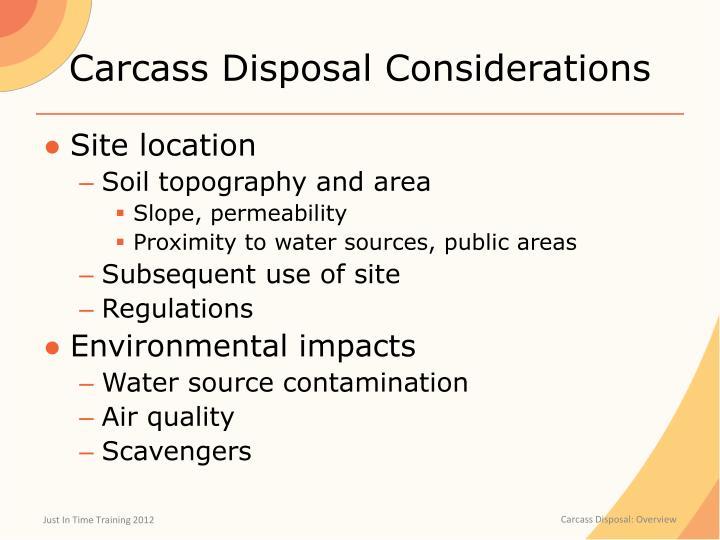 Carcass Disposal Considerations
