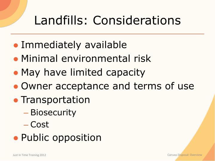 Landfills: Considerations