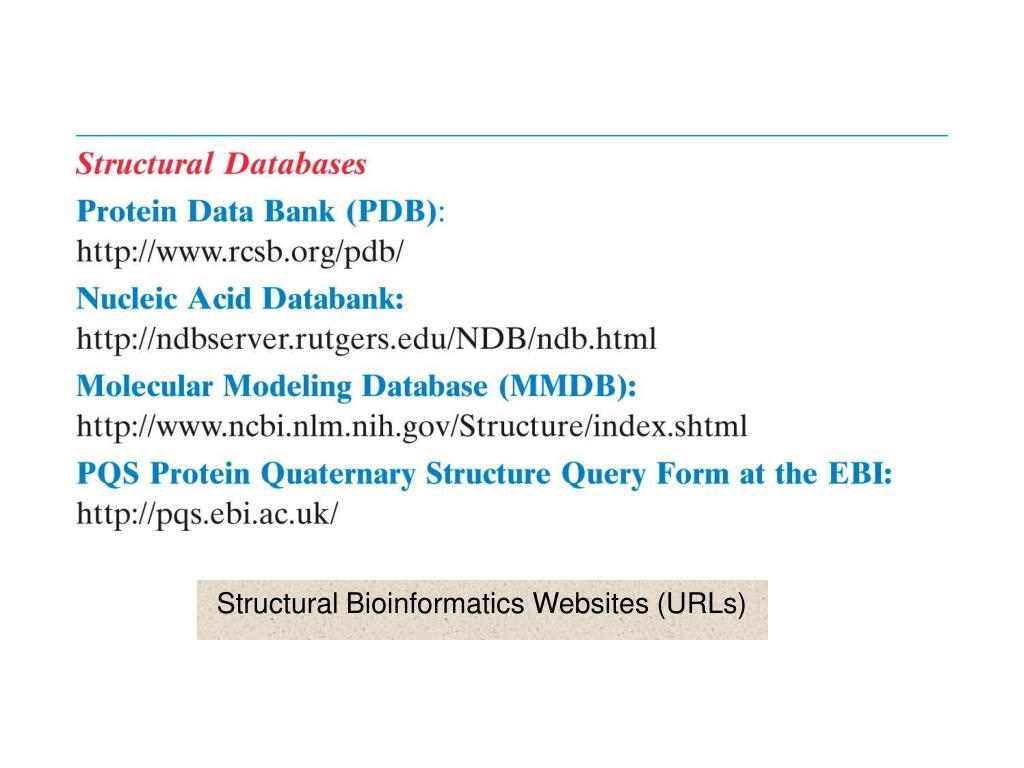 Structural Bioinformatics Websites (URLs)