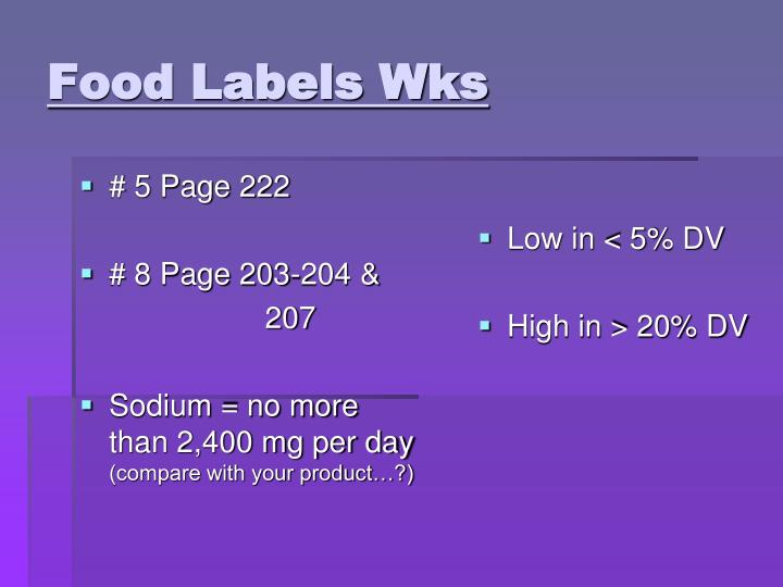 Food Labels Wks