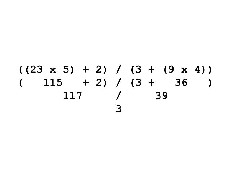 ((23 x 5) + 2) / (3 + (9 x 4))