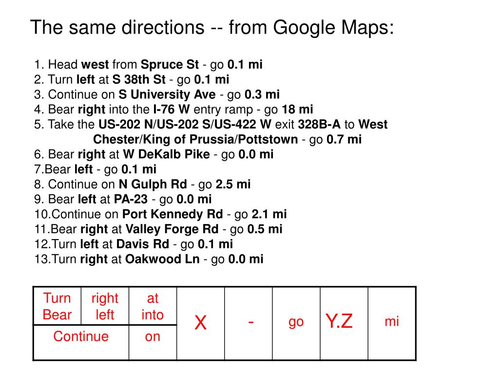 The same directions -- from Google Maps: