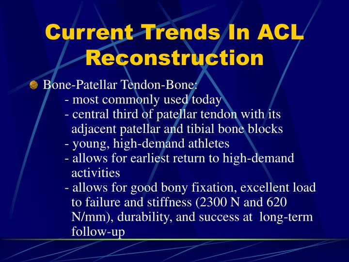 Current Trends In ACL Reconstruction