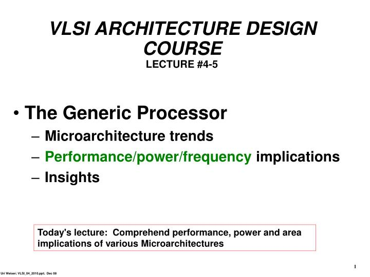 VLSI ARCHITECTURE DESIGN COURSE