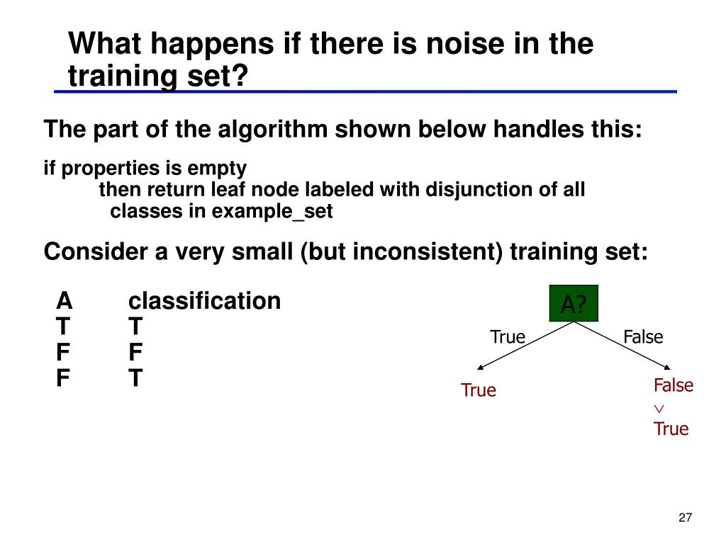 What happens if there is noise in the training set?