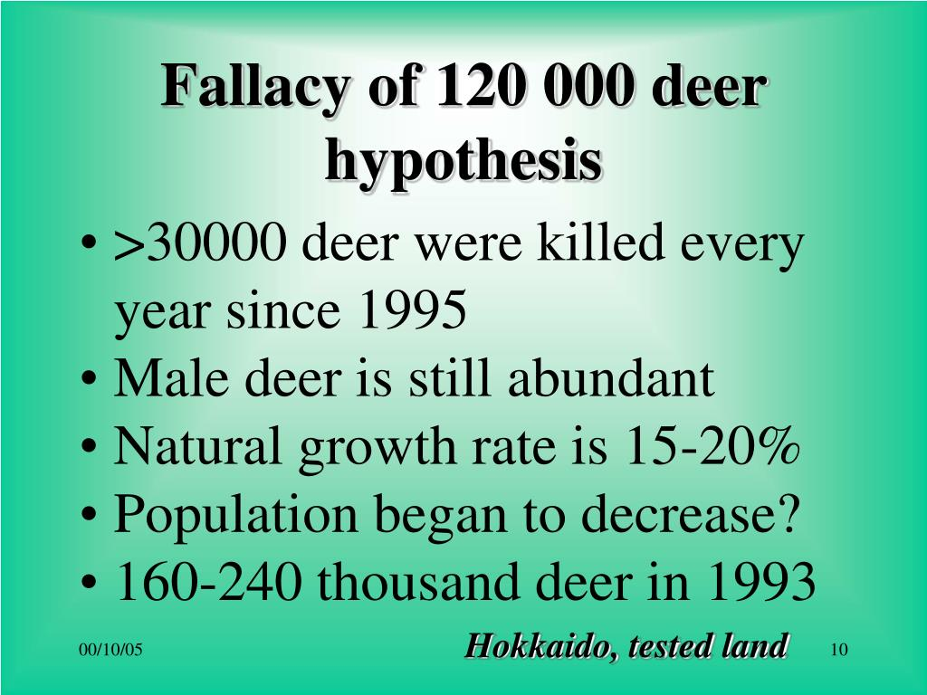 Fallacy of 120 000 deer hypothesis