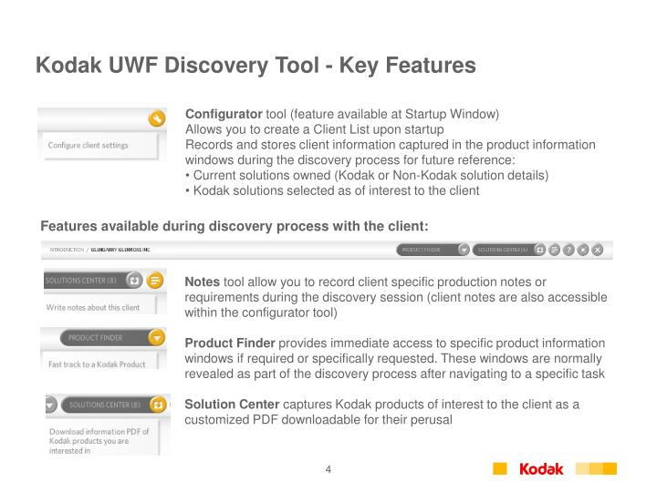 Kodak UWF Discovery Tool - Key Features