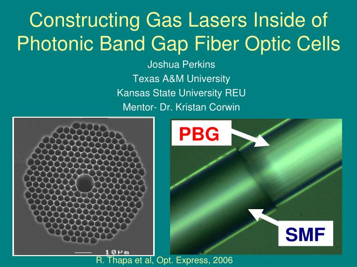 Constructing gas lasers inside of photonic band gap fiber optic cells