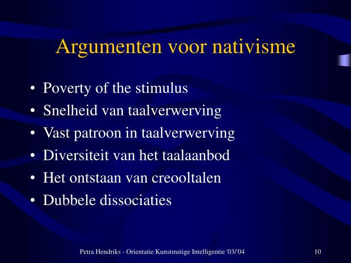 Argumenten voor nativisme