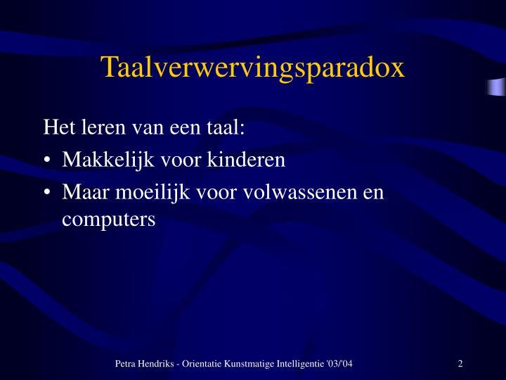 Taalverwervingsparadox
