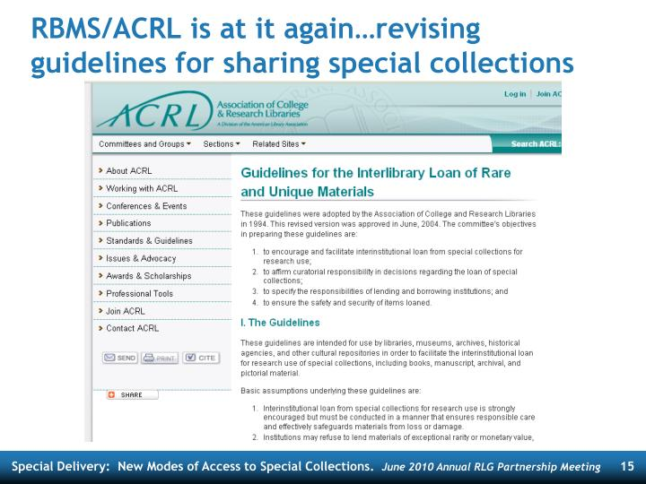 RBMS/ACRL is at it again…revising guidelines for sharing special collections