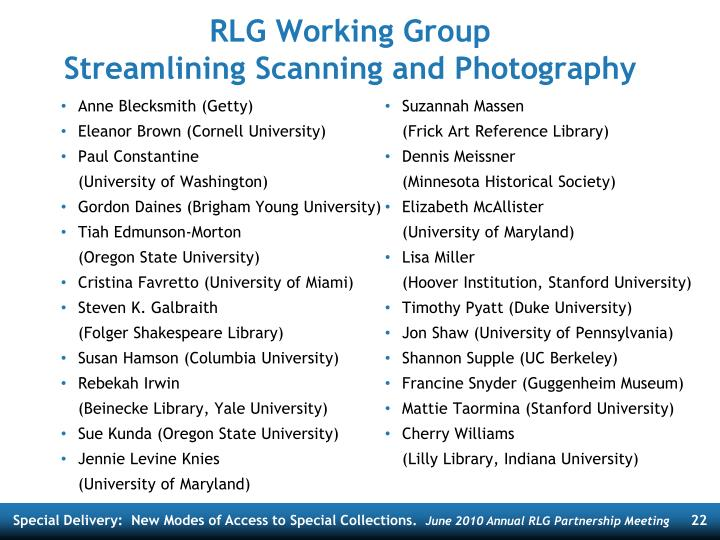 RLG Working Group