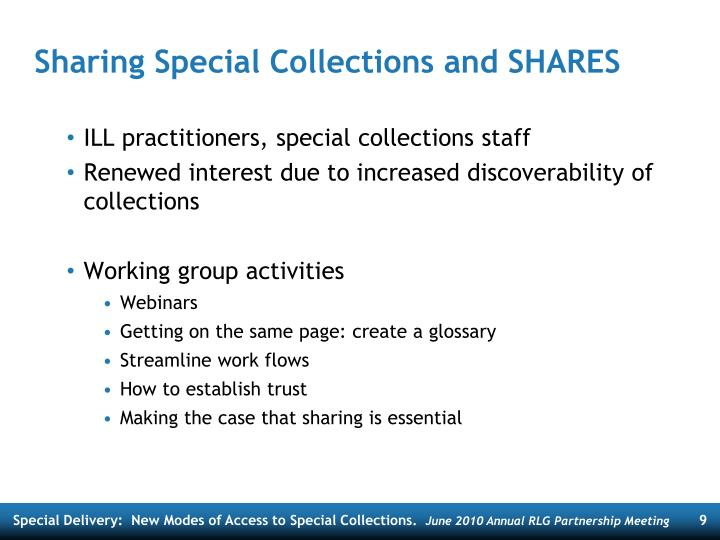 Sharing Special Collections and SHARES