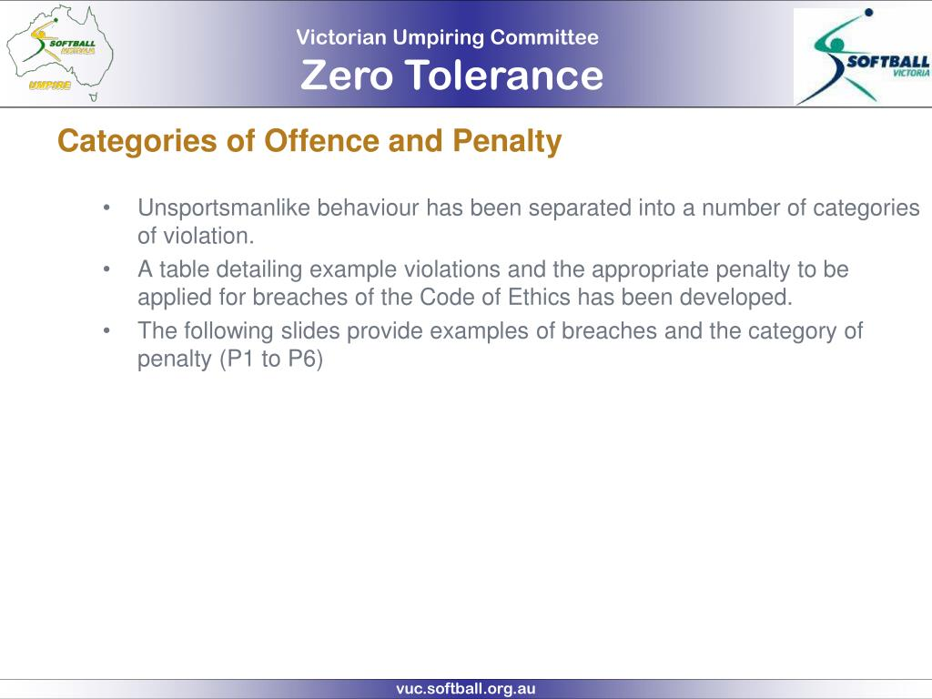 Categories of Offence and Penalty