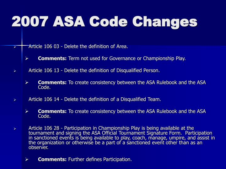 2007 asa code changes