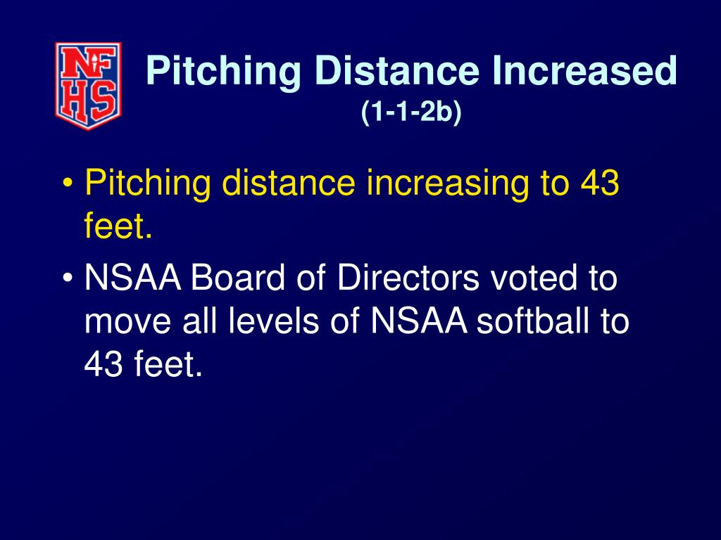 Pitching Distance Increased