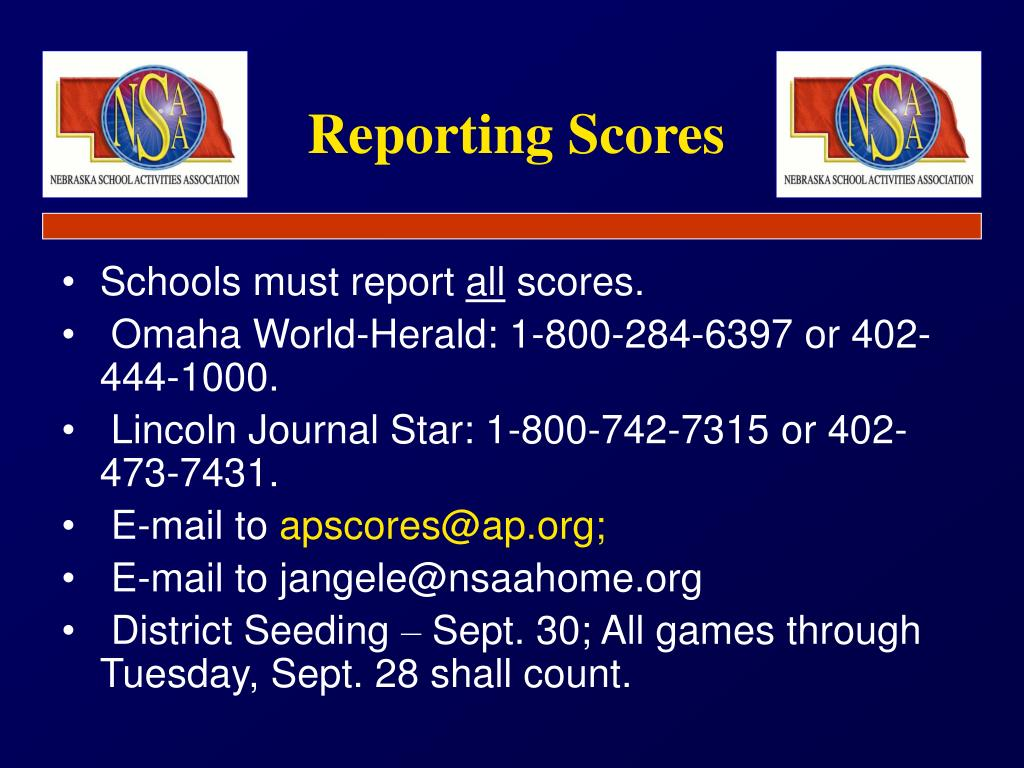 Reporting Scores
