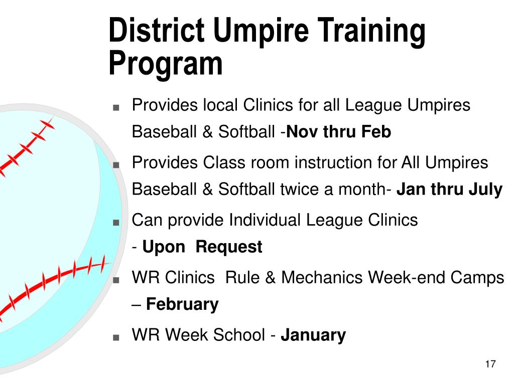 District Umpire Training Program