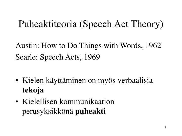 puheaktiteoria speech act theory
