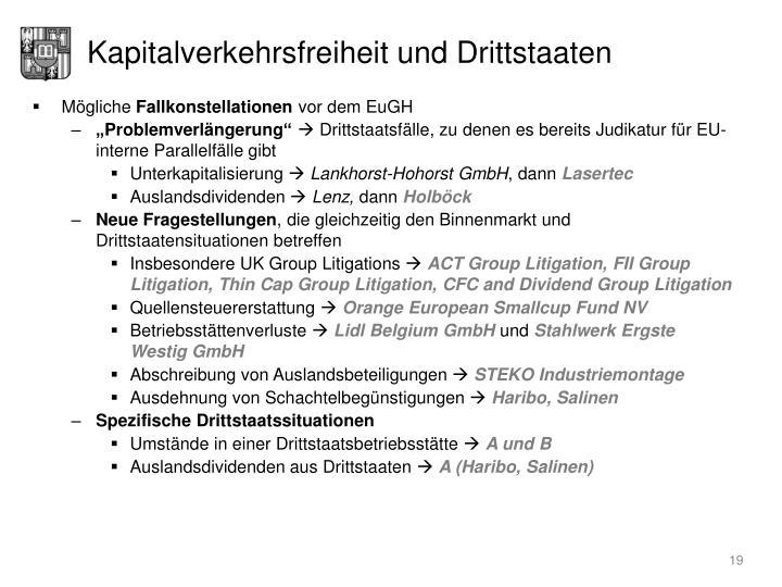 Kapitalverkehrsfreiheit und Drittstaaten