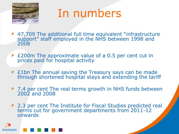 "47,709 The additional full time equivalent ""infrastructure support"" staff employed in the NHS between 1998 and 2008"