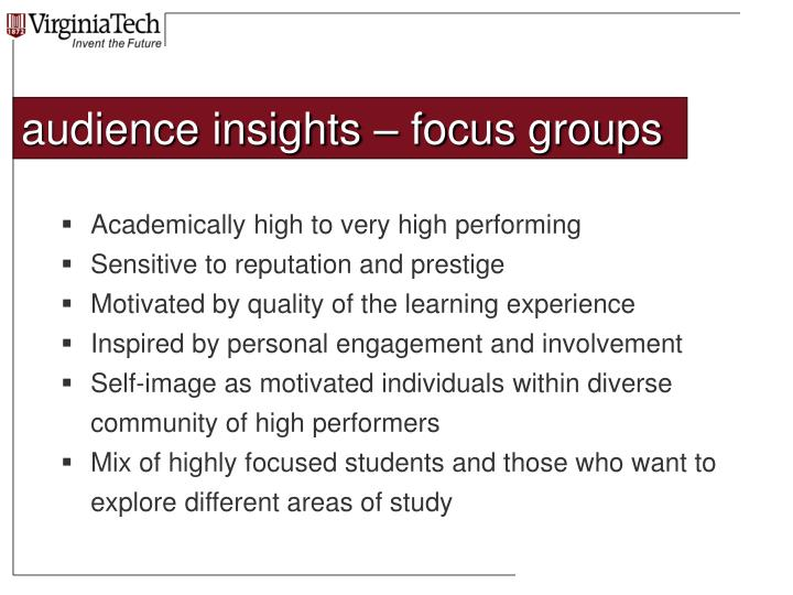 audience insights – focus groups