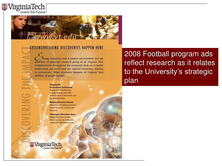 2008 Football program ads reflect research as it relates to the University's strategic plan