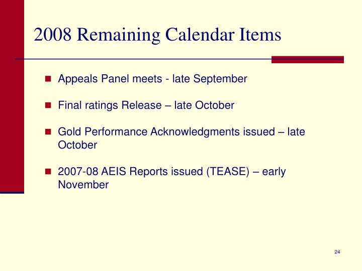 2008 Remaining Calendar Items