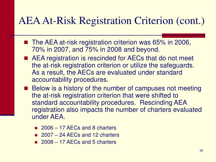 AEA At-Risk Registration Criterion (cont.)