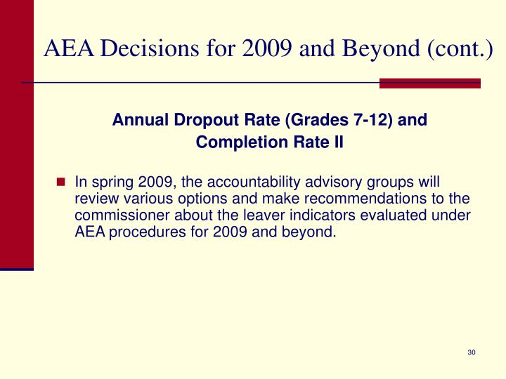 AEA Decisions for 2009 and Beyond (cont.)