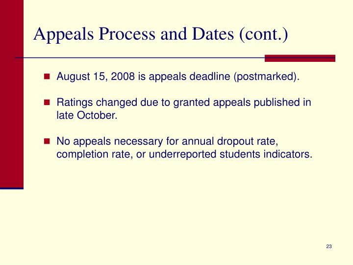 Appeals Process and Dates (cont.)