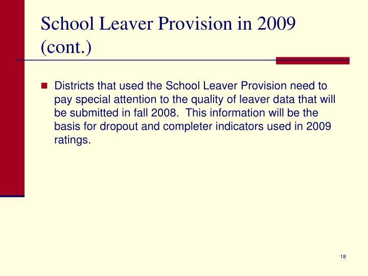 School Leaver Provision in 2009 (cont.)