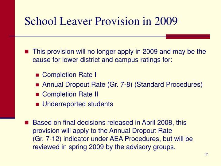 School Leaver Provision in 2009
