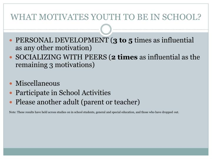 WHAT MOTIVATES YOUTH TO BE IN SCHOOL?