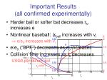 important results all confirmed experimentally