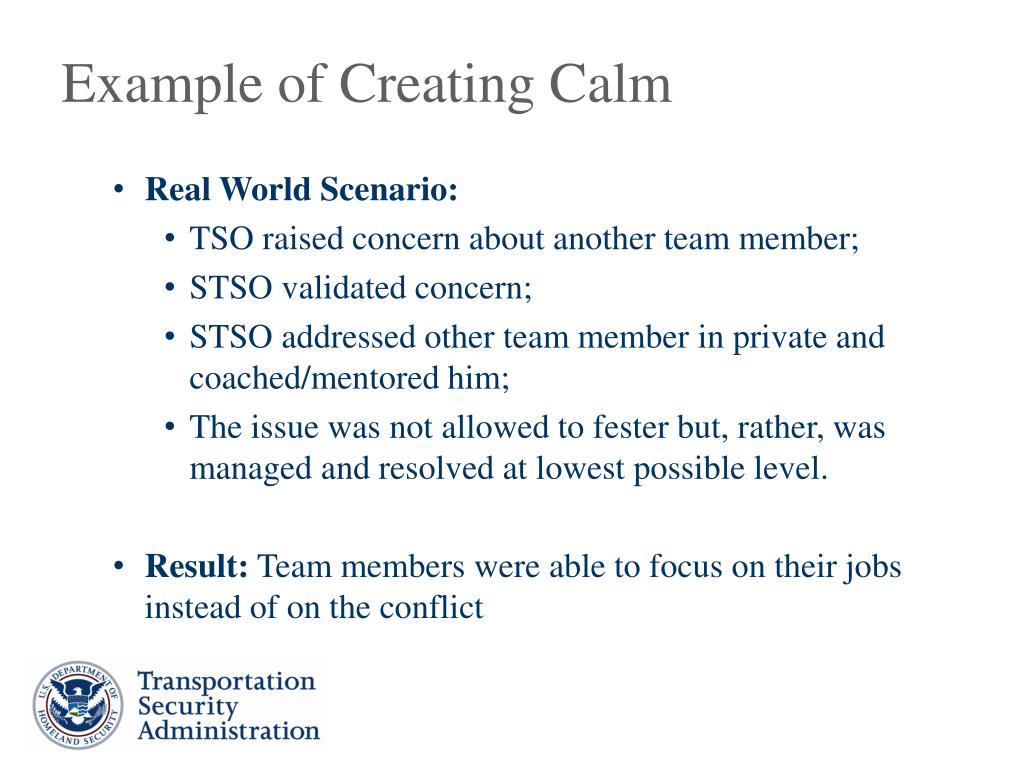 Example of Creating Calm