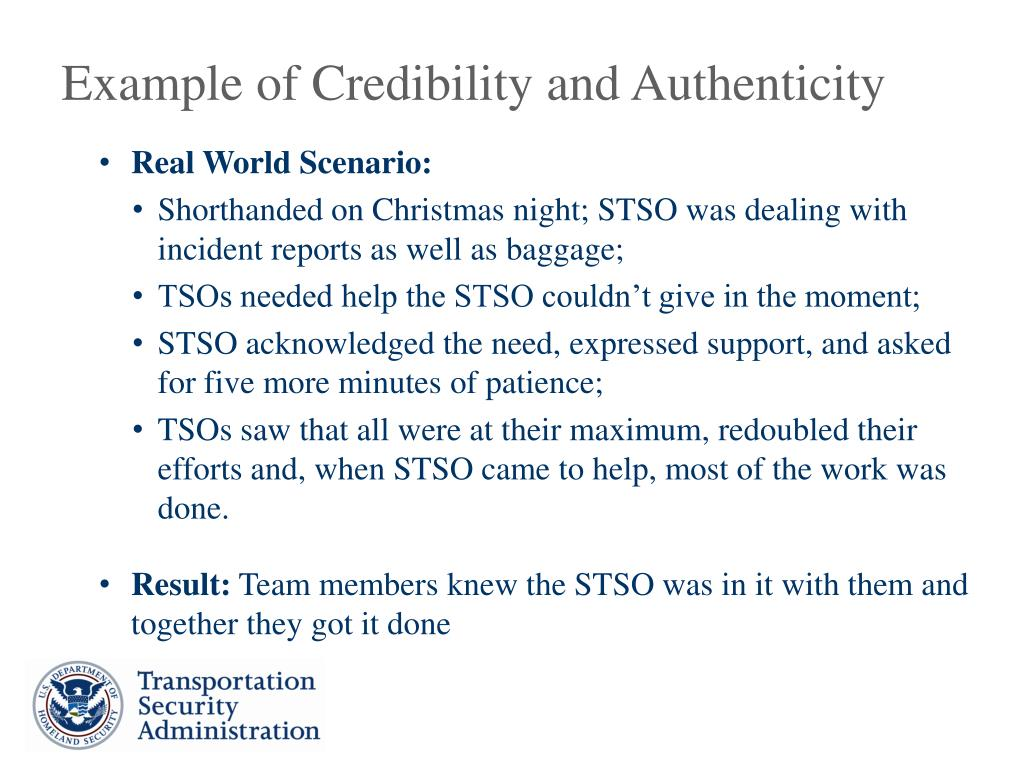 Example of Credibility and Authenticity