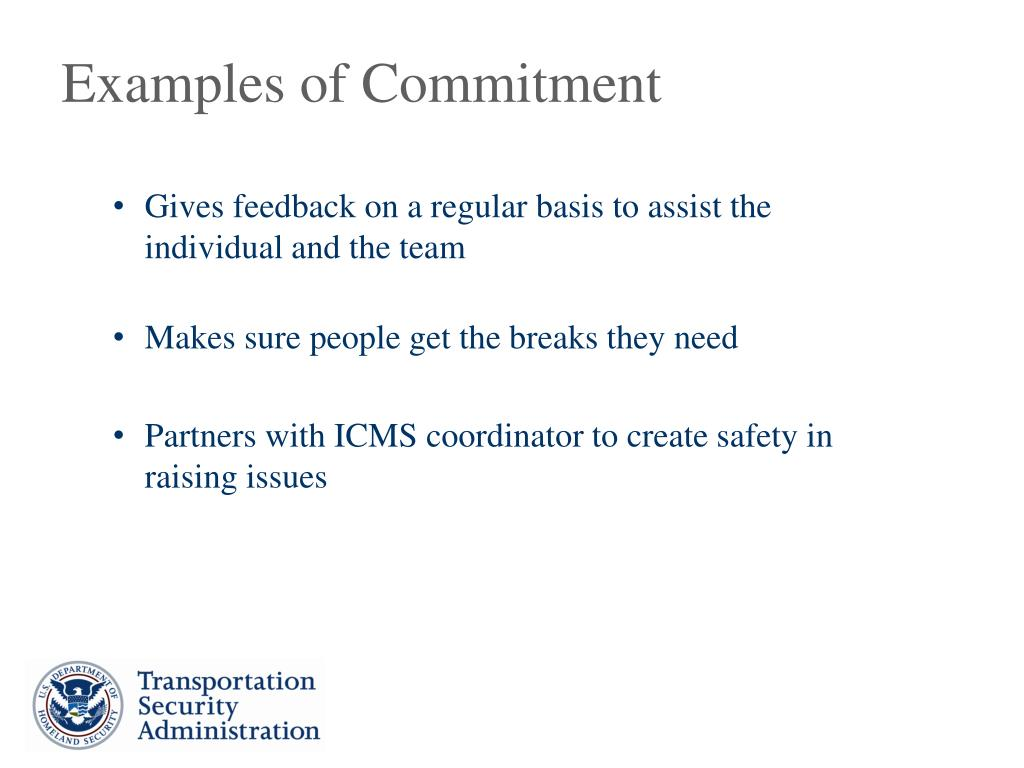 Examples of Commitment