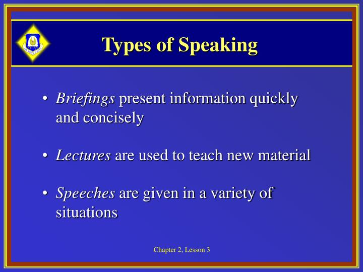 Types of Speaking