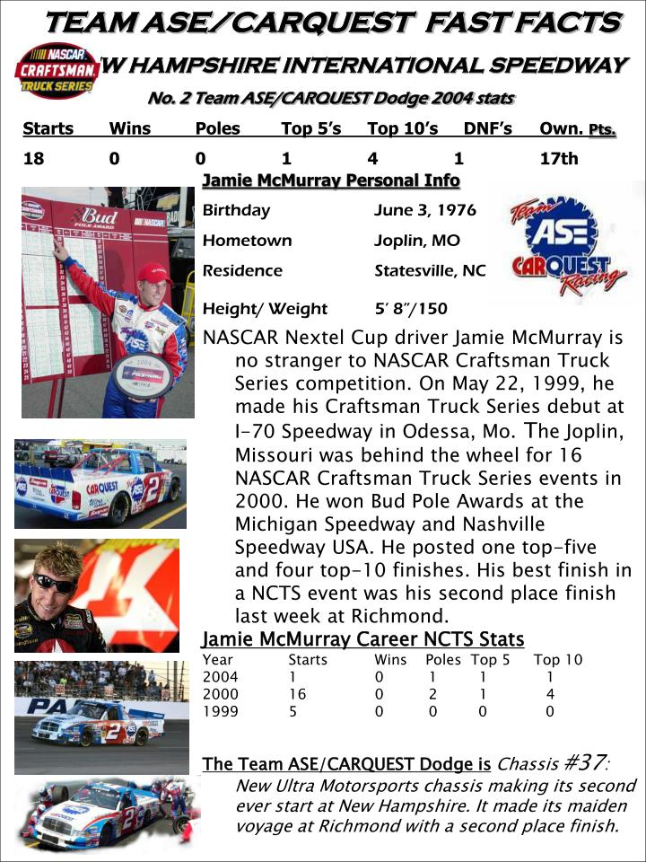 TEAM ASE/CARQUEST  FAST FACTS