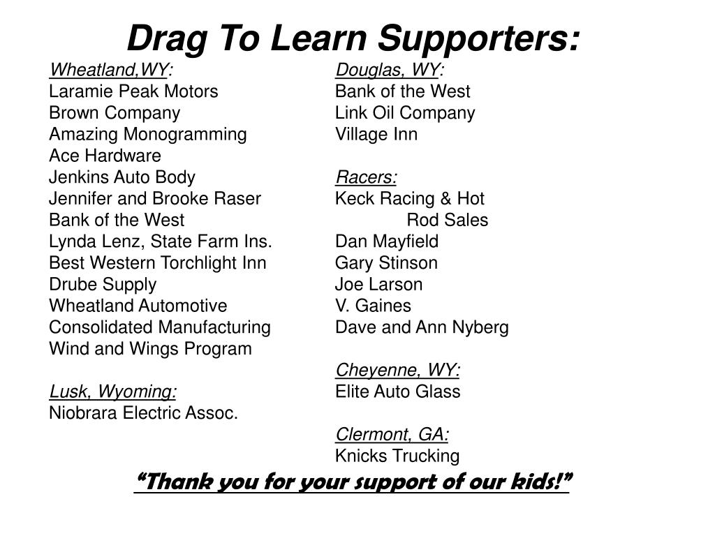 Drag To Learn Supporters: