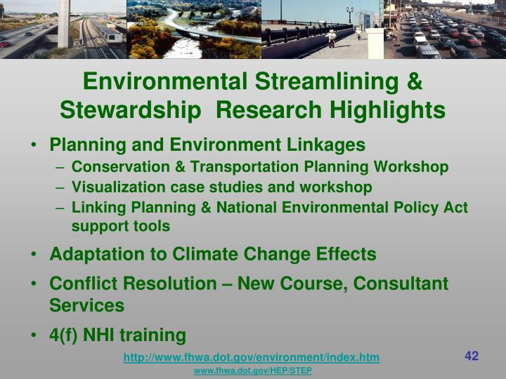 Environmental Streamlining & Stewardship  Research Highlights