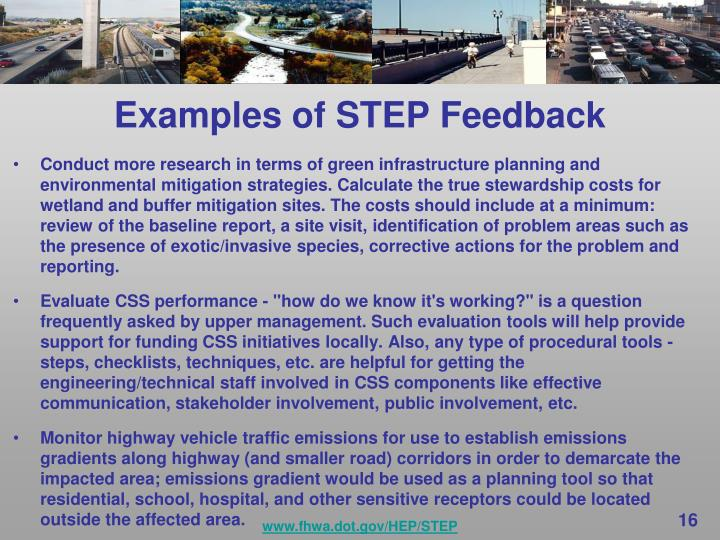 Examples of STEP Feedback