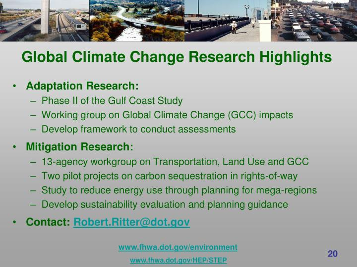 Global Climate Change Research Highlights