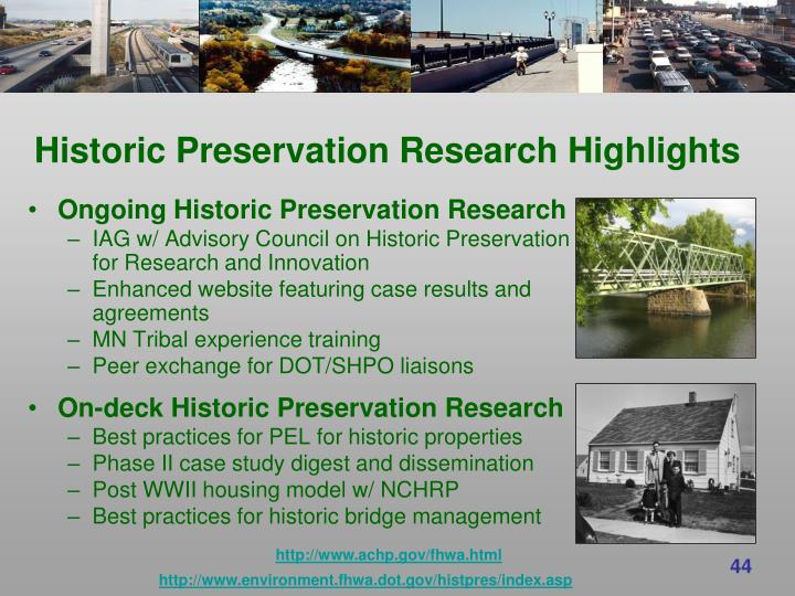 Historic Preservation Research Highlights
