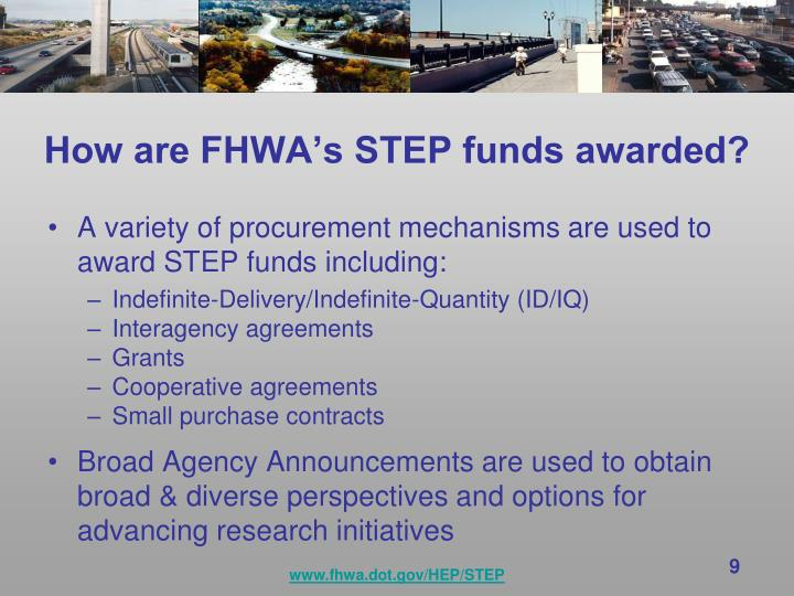 How are FHWA's STEP funds awarded?