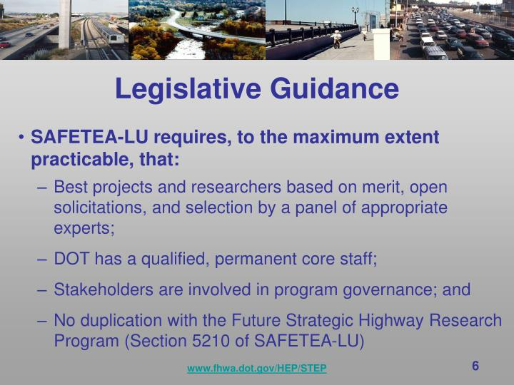 Legislative Guidance